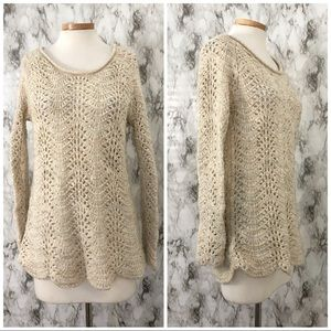 Jessica Simpson | Cream Scalloped Long Sweater